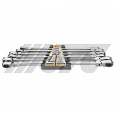 Набор накидных ключей шарнирных с трещоткой 10-19мм 6ед.(удлиненных)